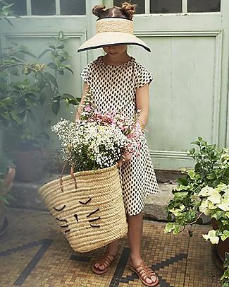 Emile et Ida Girl's Dress, Ecru+Flowers - 100% cotton Dresses
