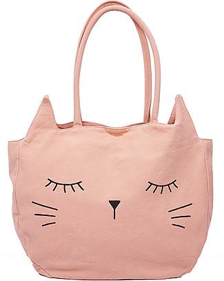 Emile et Ida Girl's Handbag, Kitty/Grenadine – 100% cotton Tote Bags