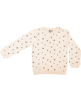 Emile et Ida Girl's Sweater, Off White + Cherry - 100% cotton Sweatshirts