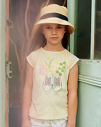 Emile et Ida Girl's T-Shirt, Pale Yellow/Shoes Print - 100% cotton T-Shirts And Vests