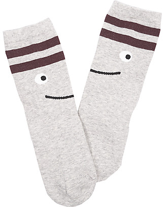 Emile et Ida Happy Face Socks, Grey - Cotton Socks