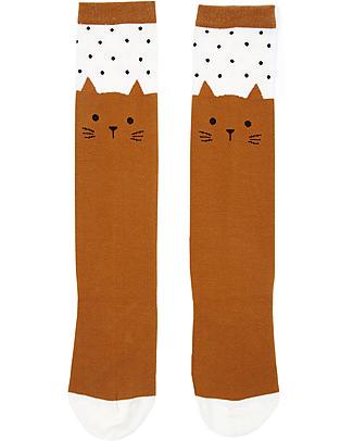 Emile et Ida Kitty Socks, Brown - Cotton Socks