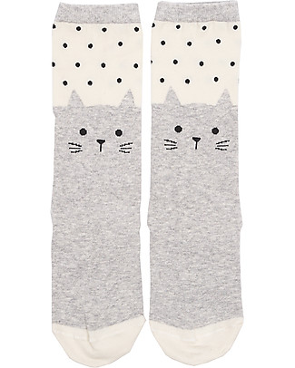 Emile et Ida Kitty Socks, Grey - Cotton Socks