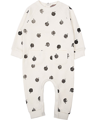 Emile et Ida Long Sleeves Overall, Ecru/Apples - 100% cotton fleece Rompers