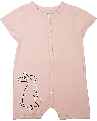 Emile et Ida Short Sleeves Baby Onepiece, Pale Pink/Bunny – 100% cotton Short Rompers