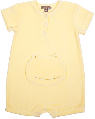 Emile et Ida Short Sleeves Baby Onepiece, Yellow/Frog – 100% cotton Shorts
