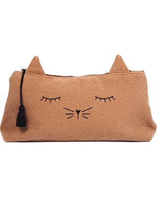 Emile et Ida Sleepy Cat Pencil Case, Brown - 100% cotton Pencil Cases