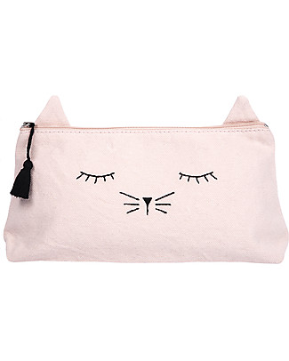 Emile et Ida Sleepy Cat Pencil Case, Pink - 100% cotton Makeup Bags & Pouches