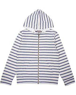 Emile et Ida Unisex Zippered Hoody, White&Navy Stripes - 100% cotton Sweatshirts