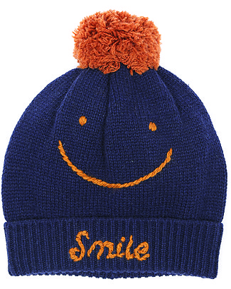 Emile et Ida Wool Beanie Smile, Navy – Handmade embroidery! Hats