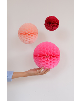Engel Set of 3 Retro Honeycomb Balls - Pink - Tissue Paper Bunting