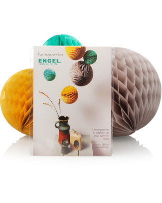 Engel Set of 3 Retro Honeycomb Spheres - Tissue Paper Bunting
