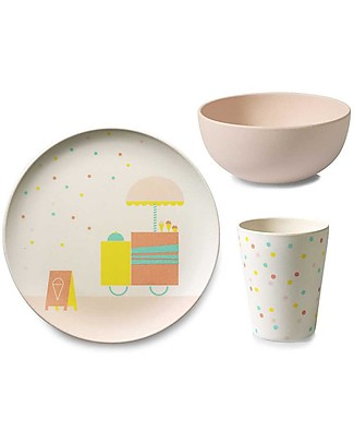 Engel Tableware Set: Bamboo Plate, Bowl and Cup - Ice cream Meal Sets