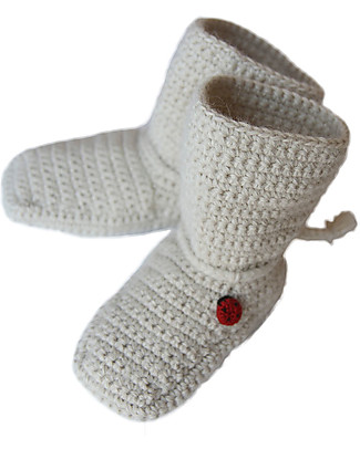 Esencia Booties Mumin, Ivory with Ladybird – 100% alpaca wool Shoes