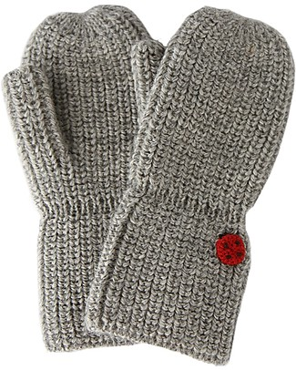 Esencia Mittens with Ladybug, Dove - 100% Alpaca wool Gloves e Mittens
