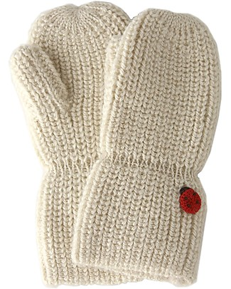 Esencia Mittens with Ladybug, Ivory – 100% alpaca wool Gloves e Mittens