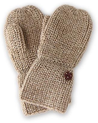 Esencia Mittens with Ladybug, Pebble – 100% alpaca wool Gloves e Mittens