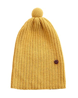 Esencia PomPom Hat with Ladybug, Amber (1-2 nd 3-4 years) – 100% Alpaca wool Hats
