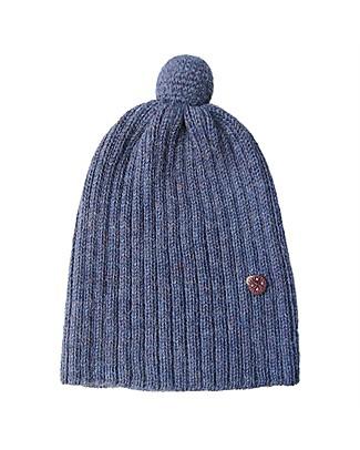 Esencia PomPom Hat with Ladybug, Blue (1-2 and 3-4 years) - 100% Alpaca wool Hats
