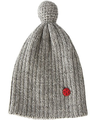 Esencia PomPom Hat with Ladybug, Dove (6 months, 1-2 and 3-4 years) - 100% Alpaca wool Hats