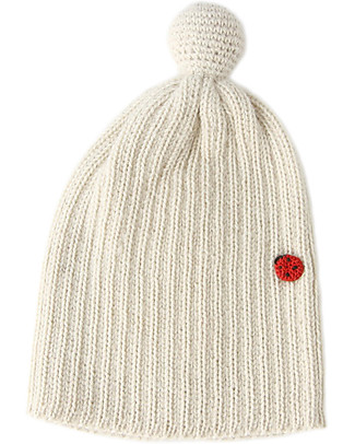 Esencia PomPom Hat with Ladybug, Ivory (1-2 and 3-4 years) – 100% alpaca wool Hats