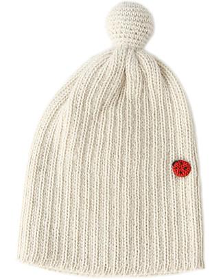 Esencia PonPon Hat with Ladybug, Ivory (1-2 and 3-4 years) – 100% alpaca wool Hats
