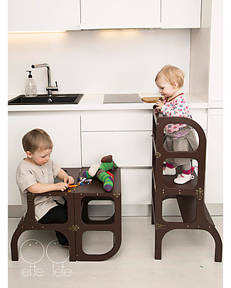 Ette Tete Convertible Montessori Learning Tower Step'n'Sit, Brown with Antique Brass Clasp Locks Tables And Chairs
