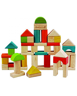 EverEarth Building Blocks, 50 pieces - Castle - High Quality FSC Certified Wood! Wooden Stacking Toys