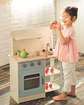 EverEarth Classic Play Kitchen - FSC Certified Wood Toy Kitchens & Play Food