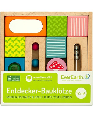 EverEarth Discovery Blocks - Many Different Geometric Shapes - FSC Certified Wood! Wooden Blocks & Construction Sets