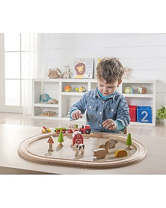 EverEarth Farm Train Set - Motor Skills - High Quality FSC Wood! Wooden Toy Cars, Trains & Trucks