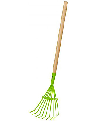 EverEarth Garden Leaf Rake - Green - Certified Wood Gardening Toys