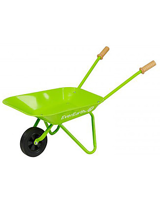 EverEarth Garden Wheelbarrow - Green - Certified Wood Gardening Toys
