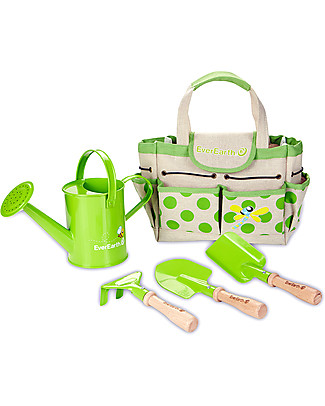 EverEarth Gardening Bag With Tools - 100% Organic Cotton & FSC Certified Beech Gardening Toys