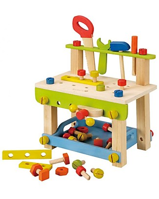EverEarth Large WorkBench with Tools Toy - Stimulates Manual Skills - FSC Certified Wood! Story Making Games