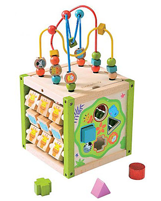 EverEarth My First Multi-play Activity Cube - Hand to Eye Coordination - FSC Certified Wood! Story Making Games