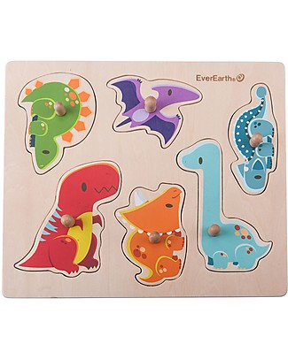 EverEarth Peg Puzzle, Dinosaur - Hand to Eye Coordination - FSC Certified Wood! Wooden Stacking Toys