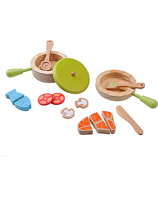 EverEarth Pot & Pen Cooking Set - Promotes Interaction with Others - Organic Wood Story Making Games