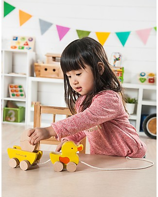 EverEarth Pull along Duck with Egg - Multi-benefits - Certified Wood Wooden Push & Pull Toys