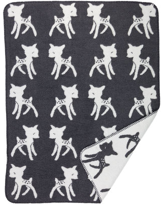 Fabulous Goose Bambi Baby Blanket - Dark Grey, White Reversible 100% Brushed Cotton (fleece effect: soft and warm) - 75 x 100 cm Blankets