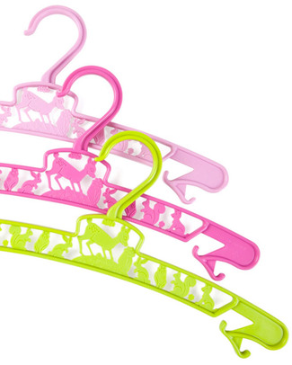 Fabulous Goose Pack of 3 Junior Hangers - Pink and Green - Eco Plastic! Hangers & Hooks