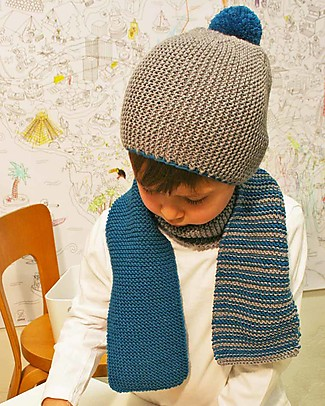 Family Nation + BettaKnit Hat and Scarf Knitting Kit Old School Blue – 100% Extrafine Merino Wool Scarves And Shawls