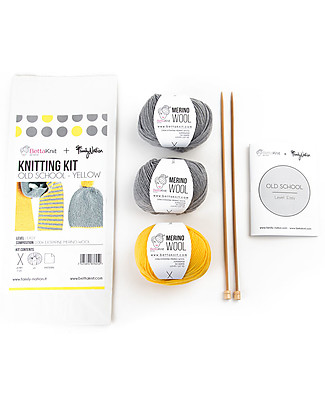 Family Nation + BettaKnit Hat and Scarf Knitting Kit Old School Yellow – 100% Extrafine Merino Wool Scarves And Shawls
