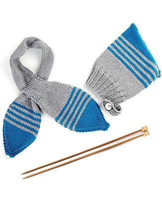 Family Nation + BettaKnit Hat and Scarf Knitting Kit Pixie Blue – 100% Extrafine Merino Wool Scarves And Shawls