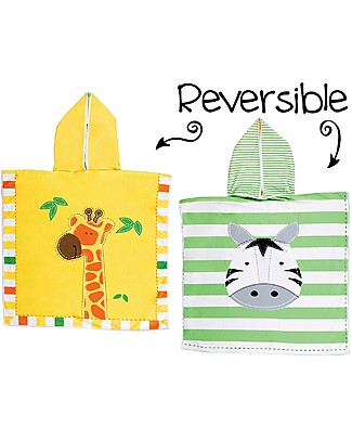 FlapJackKids 2-in-1 Baby Cover Up, Giraffe + Zebra - 61 x 61 cm Towels And Flannels