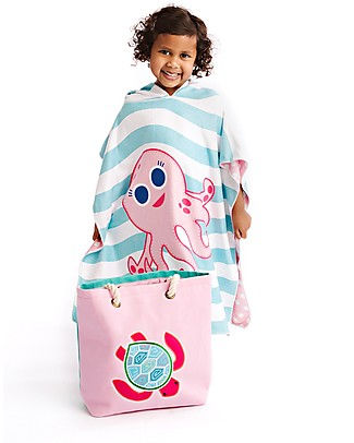 FlapJackKids 2-in-1 Baby Cover Up, Turtle+Pink Octopus - 61 x 61 cm Towels And Flannels