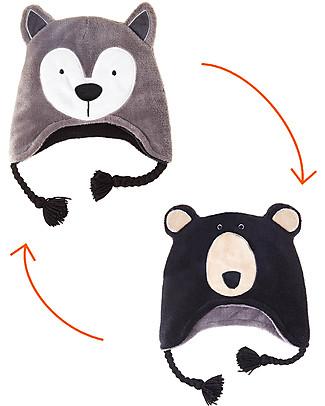 FlapJackKids 2-in-1 Reversible Winter Hat Anti-UV UPF 50+, Wolf+Bear - 100% pile    null