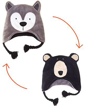FlapJackKids 2-in-1 Reversible Winter Hat Anti-UV UPF 50+, Wolf+Bear - 100% pile    Winter Hats