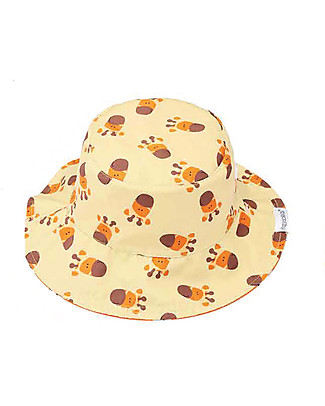 FlapJackKids Baby Reversible Summer Hat Anti-UV UPF 50+, Pattern Giraffe+Zebra - 100% cotton Sunhats