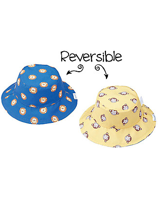 FlapJackKids Baby Reversible Summer Hat Anti-UV UPF 50+, Pattern Lion/Monkey - 100% cotton Sunhats